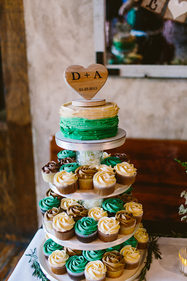 cupcake tower - photo by Redfield Photography http://ruffledblog.com/nyc-brunch-garden-wedding