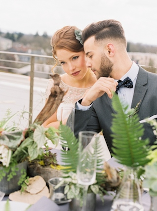 Fern and driftwood centerpiece | Christa Taylor Photography | see more on: http://burnettsboards.com/2015/11/urban-industrial-rooftop-wedding/