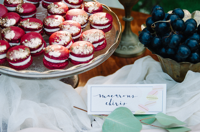 Marsala cherry macarons | Tulip + Rose Photography | see more on: http://burnettsboards.com/2015/11/manets-luncheon-grass-wedding-inspiration/