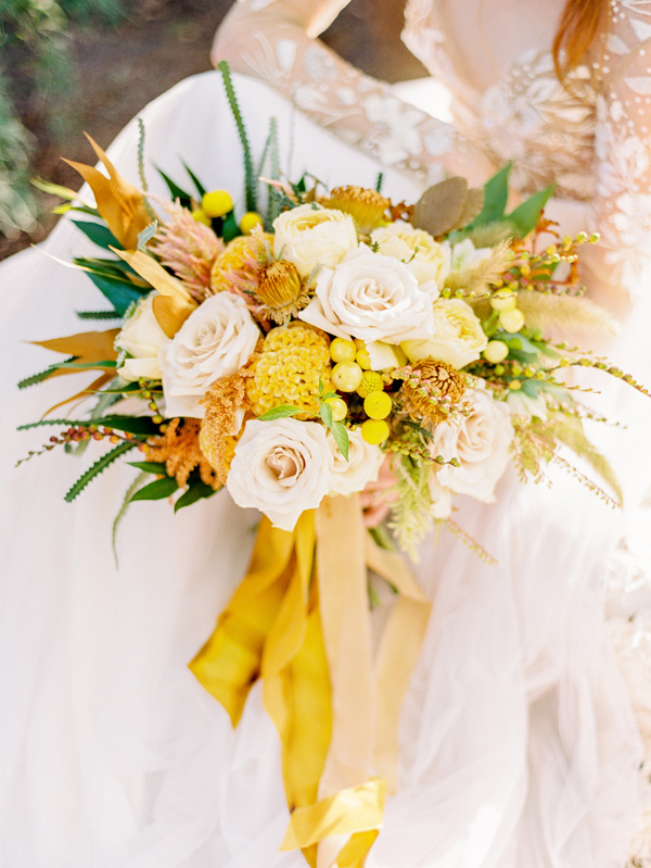 mustard bouquet - photo by Love by Serena http://ruffledblog.com/copper-and-slate-autumn-inspiration-shoot