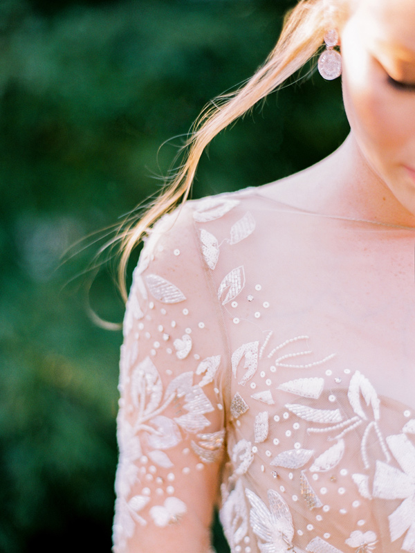 lace wedding gown detail - photo by Love by Serena http://ruffledblog.com/copper-and-slate-autumn-inspiration-shoot