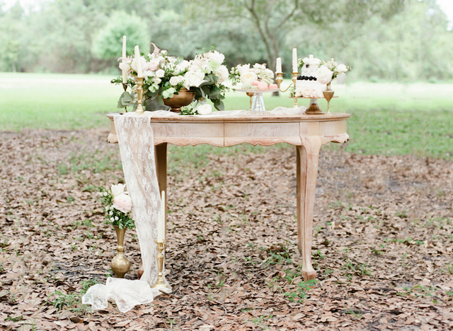 Dessert table with lace table runner | Stephanie Rawcliffe Photography | see more on: http://burnettsboards.com/2015/11/blush-green-outdoor-bridal-session/