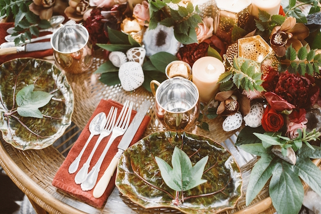 Brass and brick tablescape | Jessi Field Photography | see more on: http://burnettsboards.com/2015/11/stylish-elopement-wedding/