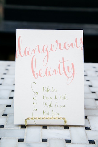 Pink calligraphy drink sign | K+B Photo | see more on: http://burnettsboards.com/2015/11/fun-flirty-bridal-shower/