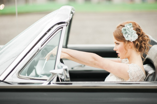 Vintage getaway car | Christa Taylor Photography | see more on: http://burnettsboards.com/2015/11/urban-industrial-rooftop-wedding/