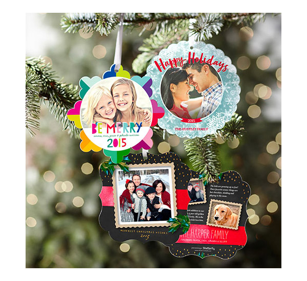 shutterfly unique holiday greeting cards ornamental xmas card hanging on christmas tree