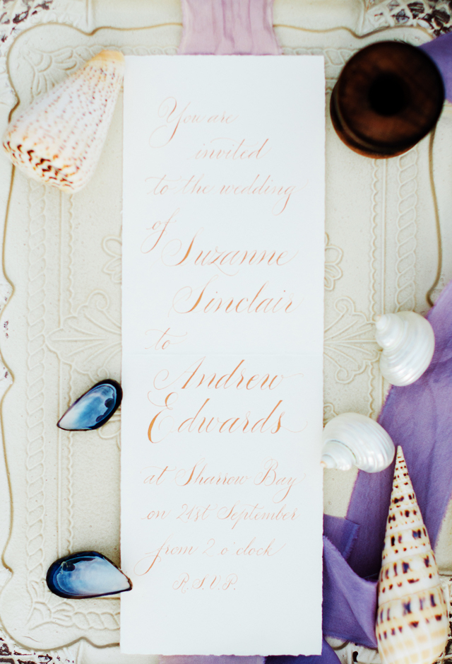 Calligraphy in pink | Catherine Noble Photography | see more on: http://burnettsboards.com/2015/11/bridals-british-beach/