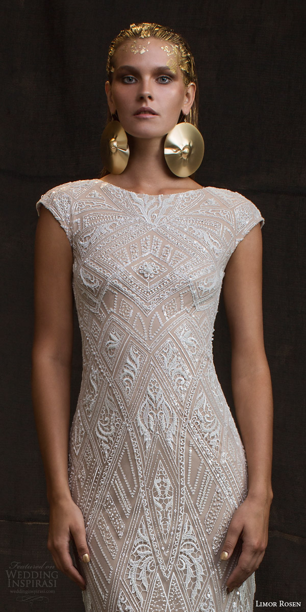 limor rosen bridal 2016 treasure daria cap sleeve sheath wedding dress beaded bodice close up