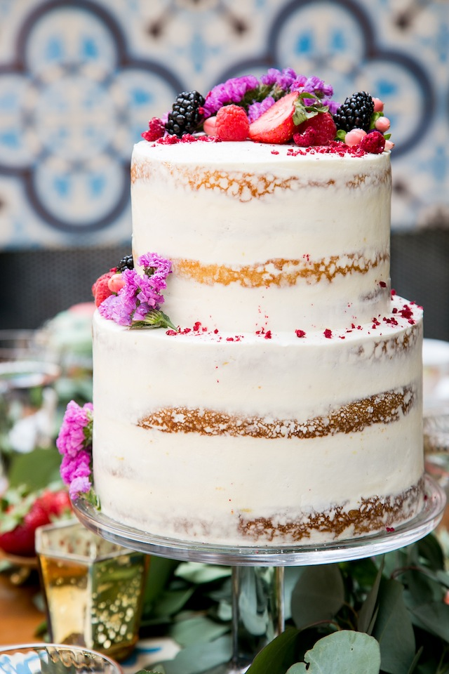 Semi naked cake with berry topper | K+B Photo | see more on: http://burnettsboards.com/2015/11/fun-flirty-bridal-shower/