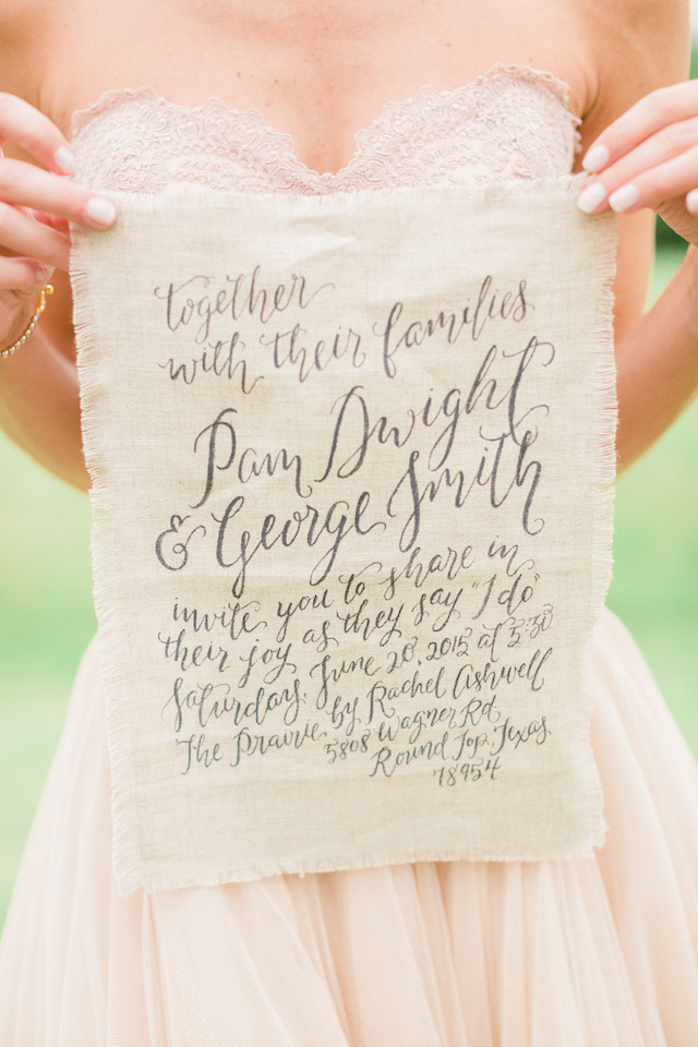 Calligraphy on linen wedding invitation | Sharon Nicole Photography | see more on: http://burnettsboards.com/2015/11/modernly-rustic-texas-hill-country-wedding/