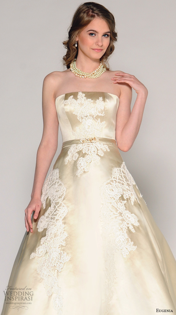 eugenia couture fall 2016 bridal strapless straight across gold silk lace appliques a line wedding ball gown dress style savannah