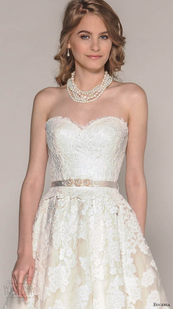 eugenia couture fall 2016 bridal strapless sweetheart neckline flora lace embroidery pretty a line wedding ball gown dress style aster