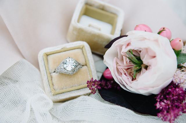 Vintage diamond engagement ring | Tulip + Rose Photography | see more on: http://burnettsboards.com/2015/11/manets-luncheon-grass-wedding-inspiration/