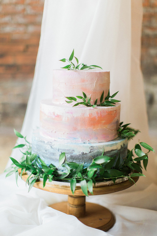watercolor cake - photo by Tracy Enoch Photography http://ruffledblog.com/organic-bohemian-wedding-inspiration