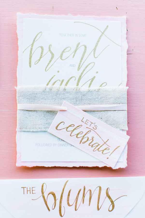 modern calligraphy invitations - photo by Milou and Olin http://ruffledblog.com/romantic-blush-winery-wedding