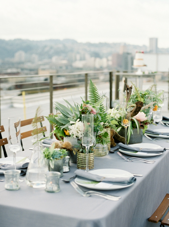 Rooftop wedding tablescape | Christa Taylor Photography | see more on: http://burnettsboards.com/2015/11/urban-industrial-rooftop-wedding/