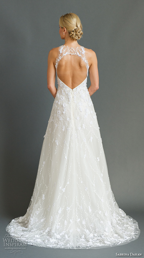 sabrina dahan bridal fall 2016 halter neck lace embroidery floral appliques a line wedding dress chloe back view