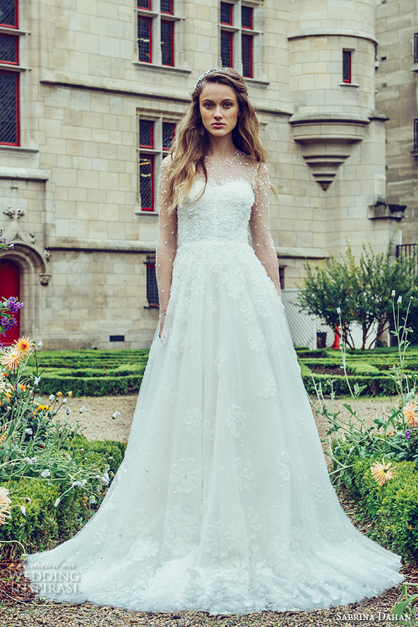 sabrina dahan bridal fall 2016 long illusion sleeves jewel sheer neckline sweetheart cut foundation beautiful a line wedding dress style elodie