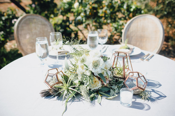 desert wedding centerpieces - photo by Marble Rye Photography http://ruffledblog.com/desert-dance-party-wedding-in-ojai