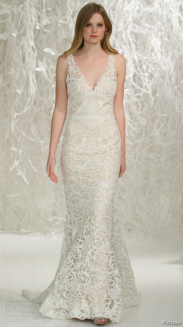 watters brides spring 2016 bridal v neck lace embroidered throughout gorgeous sheath mermaid wedding dress style georgia