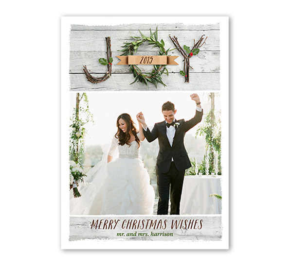 shutterfly just married joy christmas card holiday greeting howeholiday