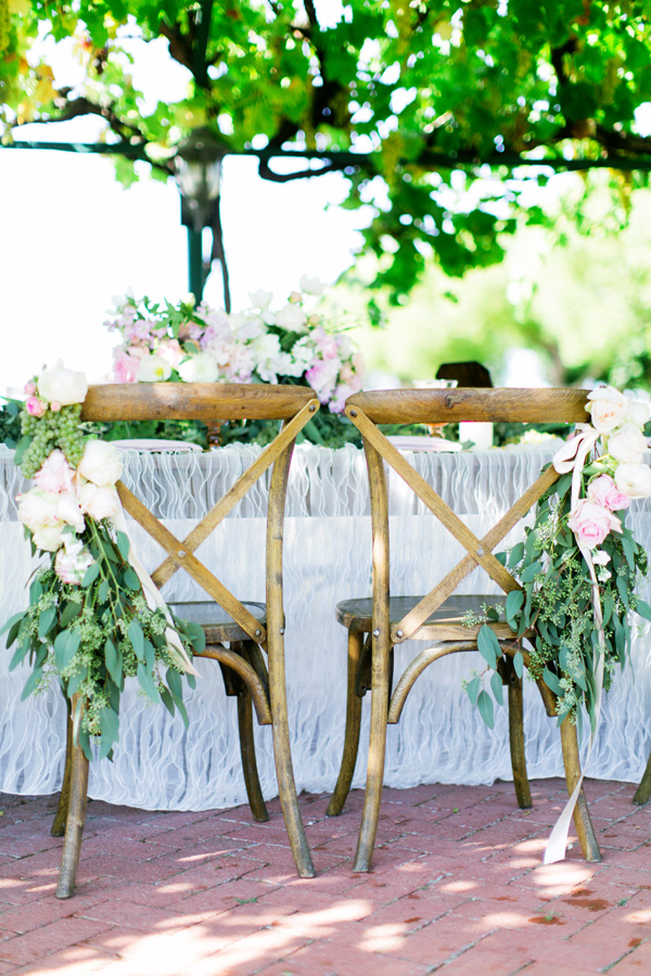 reception chairs - photo by Milou and Olin http://ruffledblog.com/romantic-blush-winery-wedding
