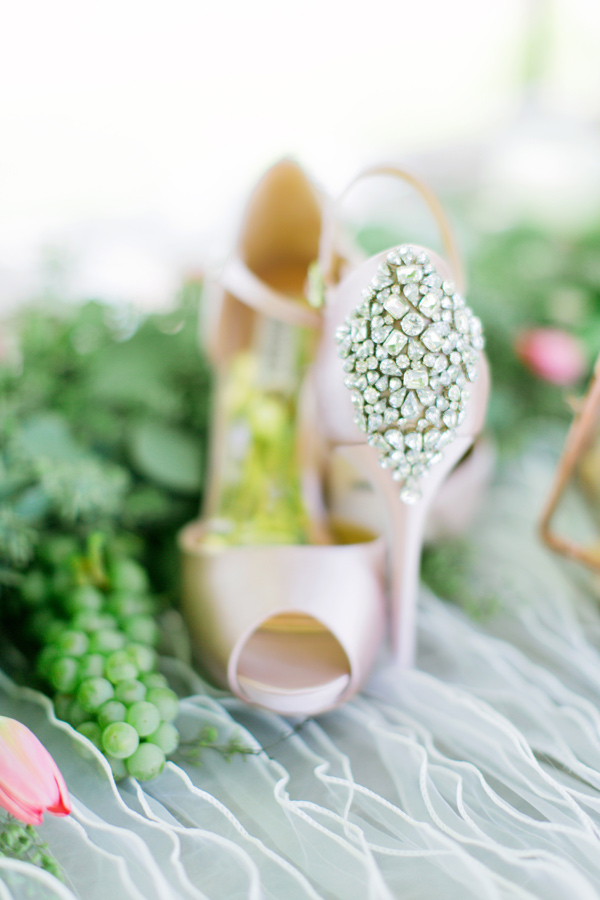 bejeweled wedding shoes - photo by Milou and Olin http://ruffledblog.com/romantic-blush-winery-wedding