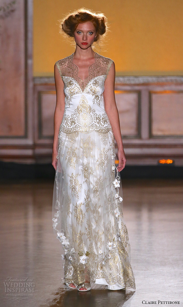 claire pettibone fall 2016 bridal new york runway sleevelss v scallop neckline filigree gold lace embroidered chiffon over skirt asscher