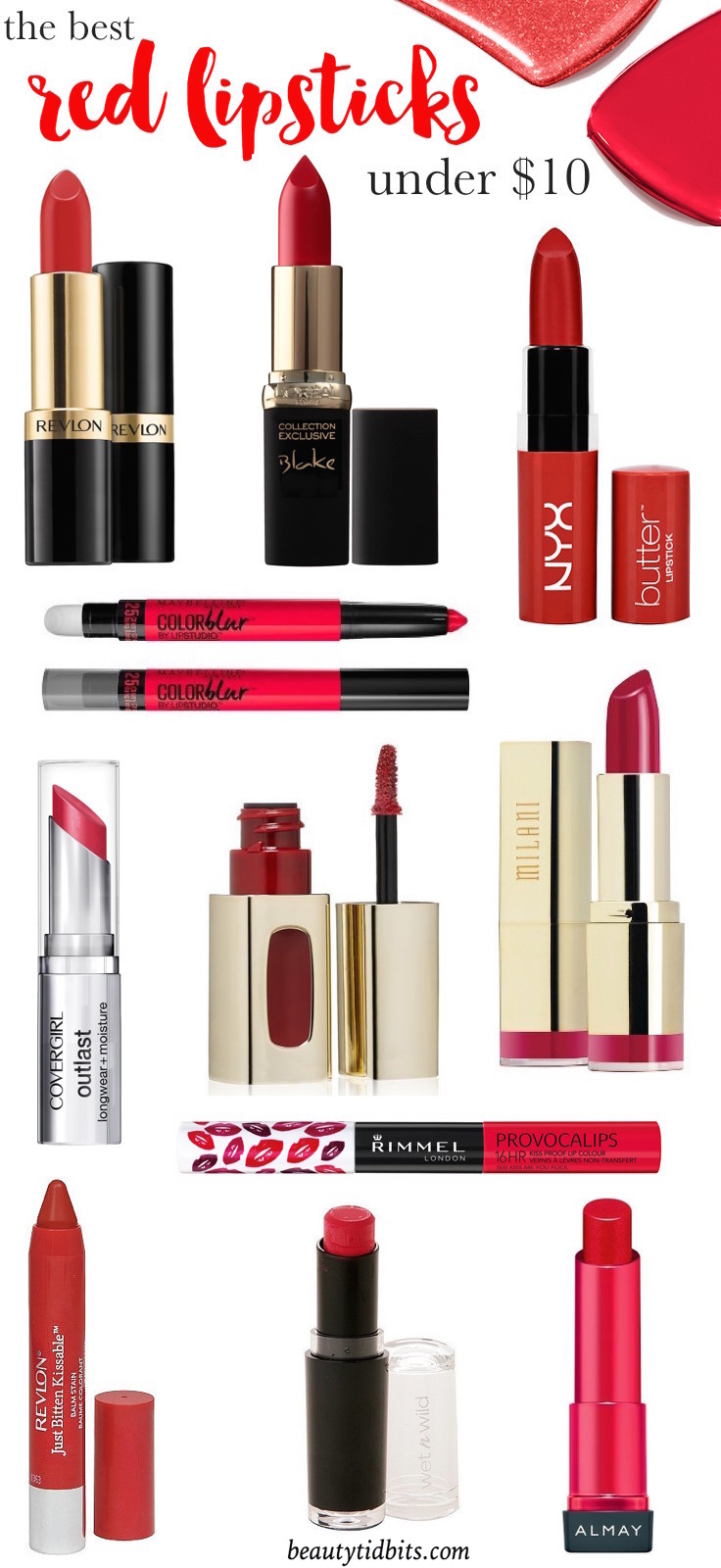 Best drugstore red lipsticks under 10