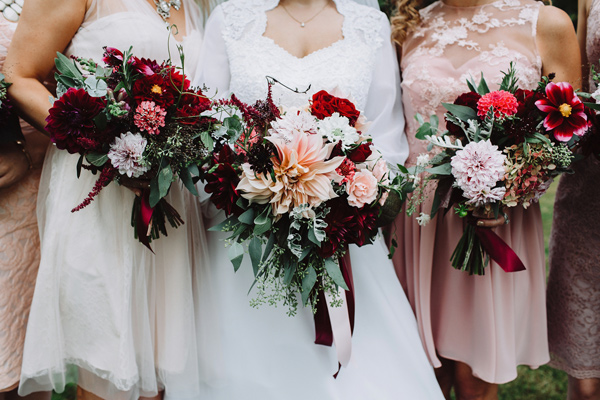 bridesmaid bouquets - photo by With Love and Embers http://ruffledblog.com/valley-crest-farm-wedding