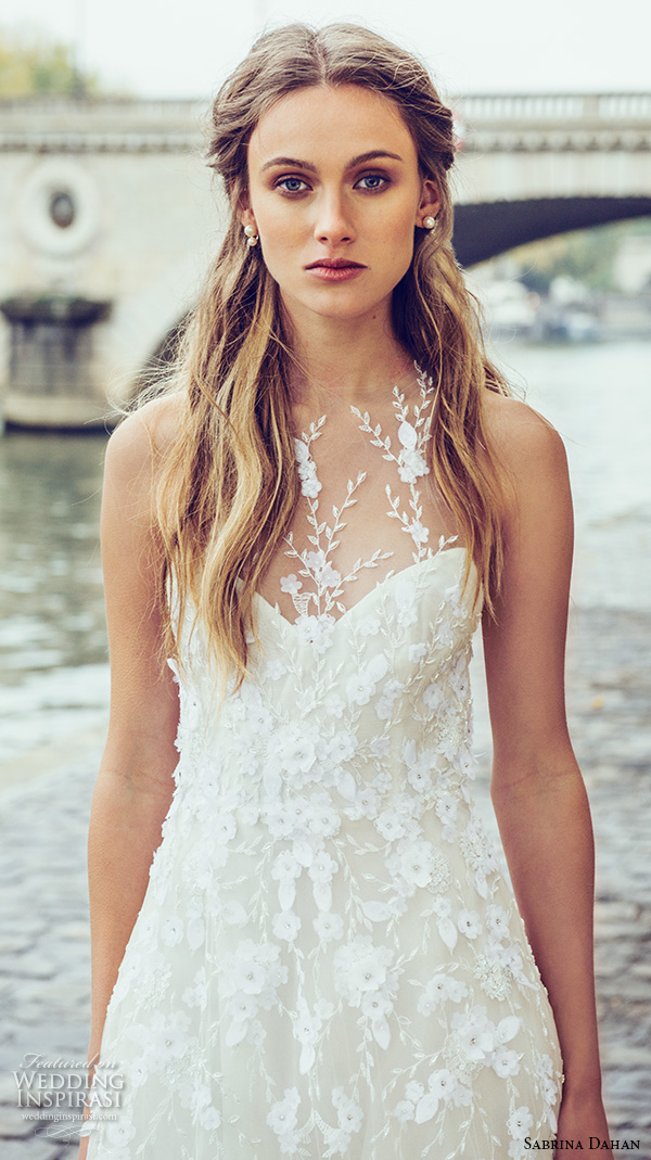 sabrina dahan bridal fall 2016 halter neck illusion neckline floral lace applique embroidery romantic a line wedding dress style chloe
