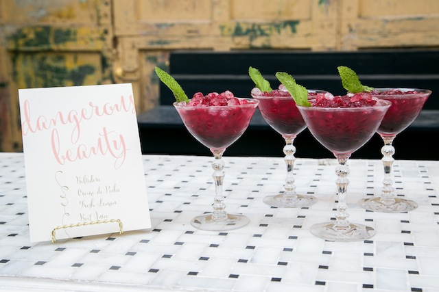 Bridal shower drinks | K+B Photo | see more on: http://burnettsboards.com/2015/11/fun-flirty-bridal-shower/
