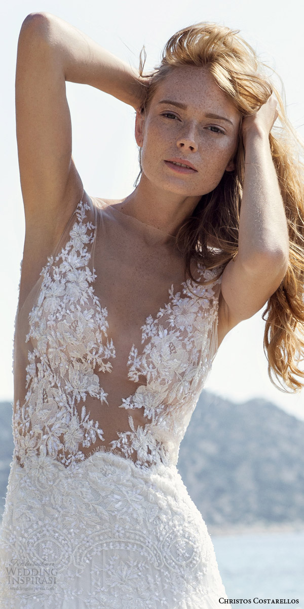 christos costarellos wedding dresses spring 2016 bridal collection sleeveless illusion bodice romantic bohemian gown close up lace