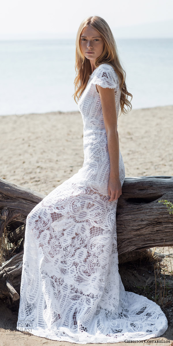 costarellos bridal spring summer 2016 pretty cap sleeve lace wedding dress romantic bohemian weddings collection