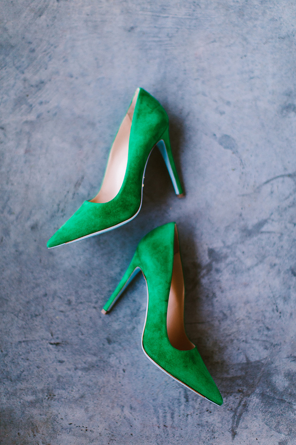 emerald wedding shoes - photo by Redfield Photography http://ruffledblog.com/nyc-brunch-garden-wedding