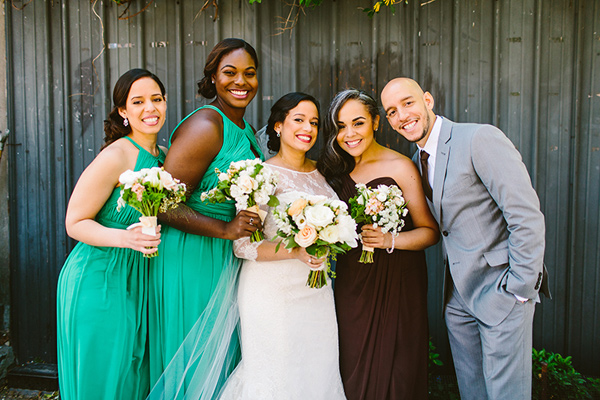 bridal party - photo by Redfield Photography http://ruffledblog.com/nyc-brunch-garden-wedding