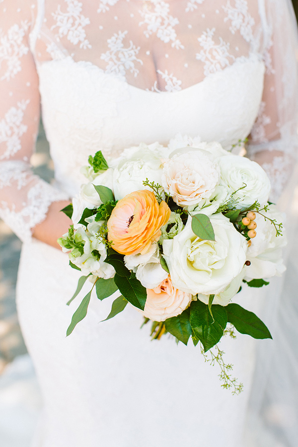 bridal bouquet with peach - photo by Redfield Photography http://ruffledblog.com/nyc-brunch-garden-wedding