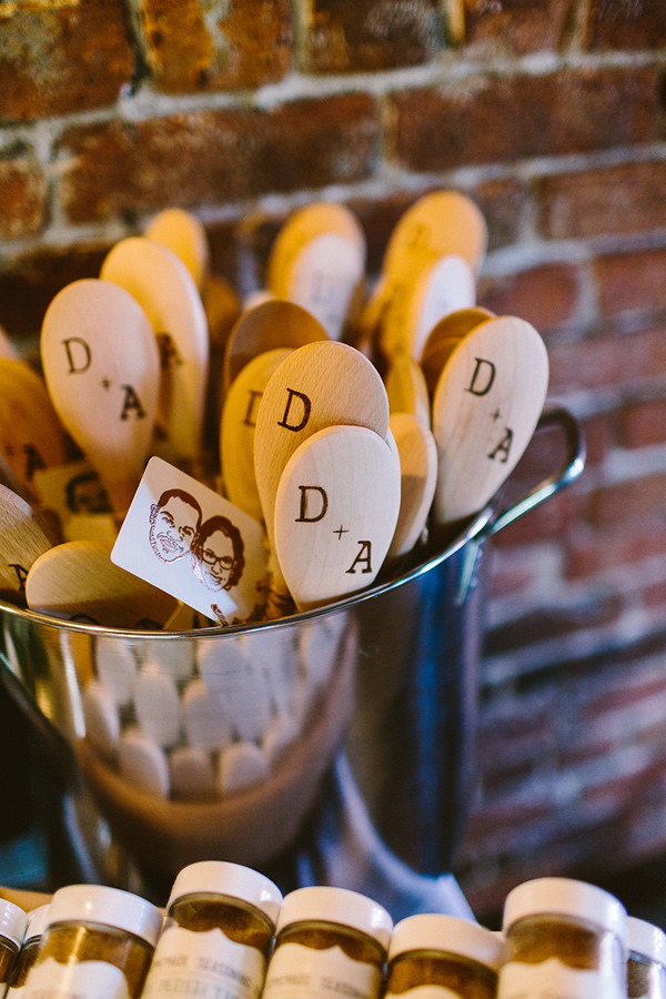 wooden spoon wedding favors - photo by Redfield Photography http://ruffledblog.com/nyc-brunch-garden-wedding