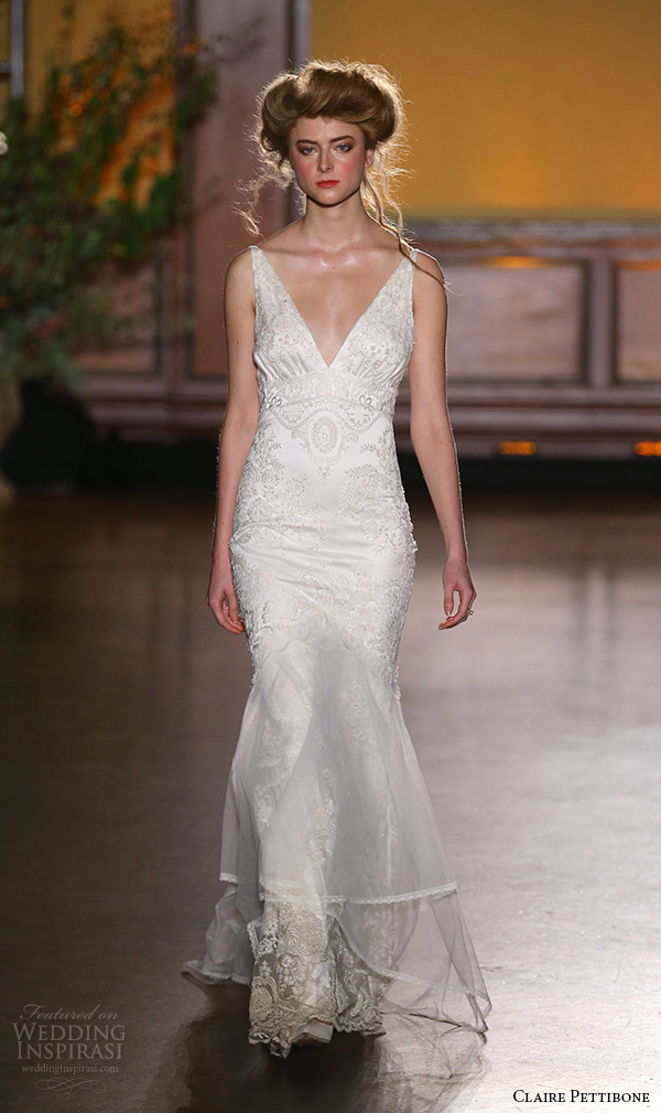 claire pettibone fall 2016 bridal new york runway sleeveless v neckline fit and flare wedding dress marquise
