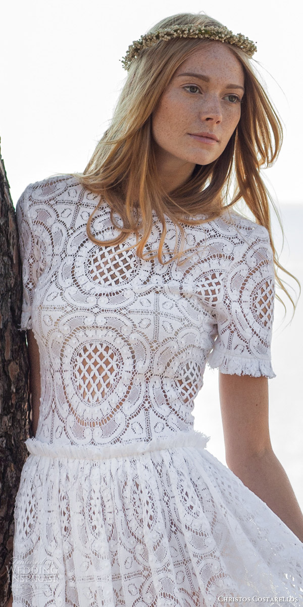 christos costarellos bridal spring 2016 romantic bohemiad lace wedding dress short sleeves zoom bodices