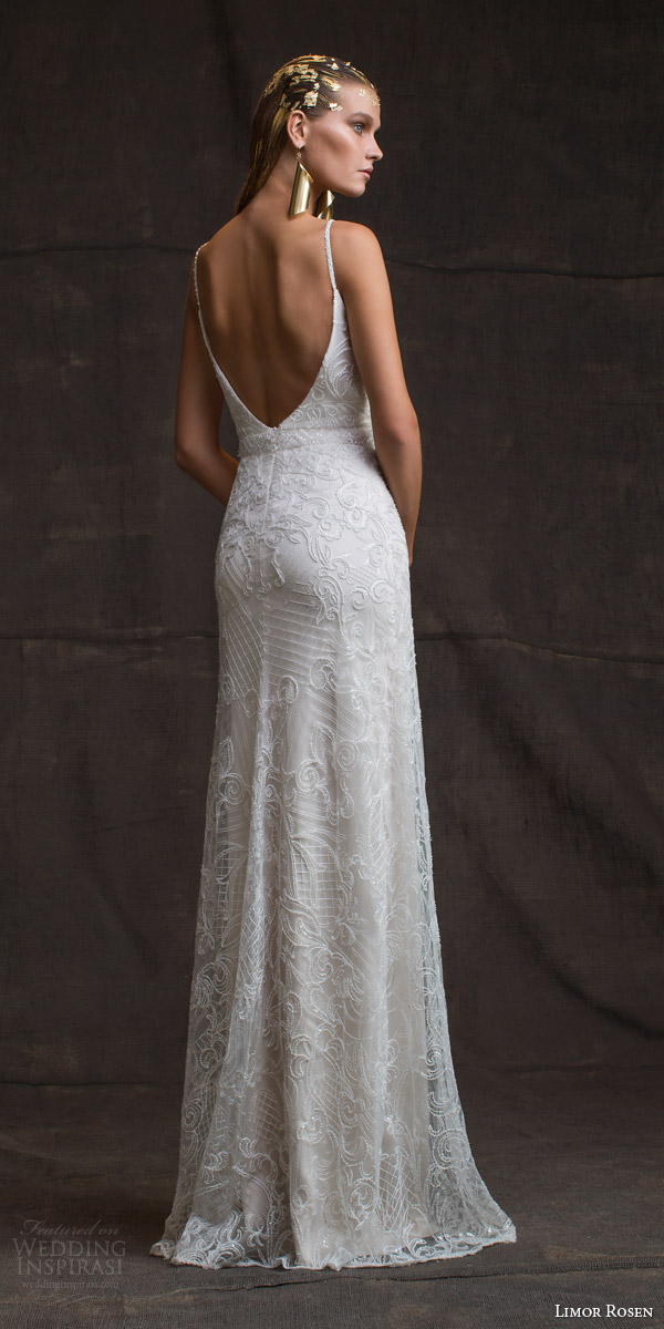 limor rosen bridal 2016 treasure camille sleeveless sheath wedding dress beaded straps low back view