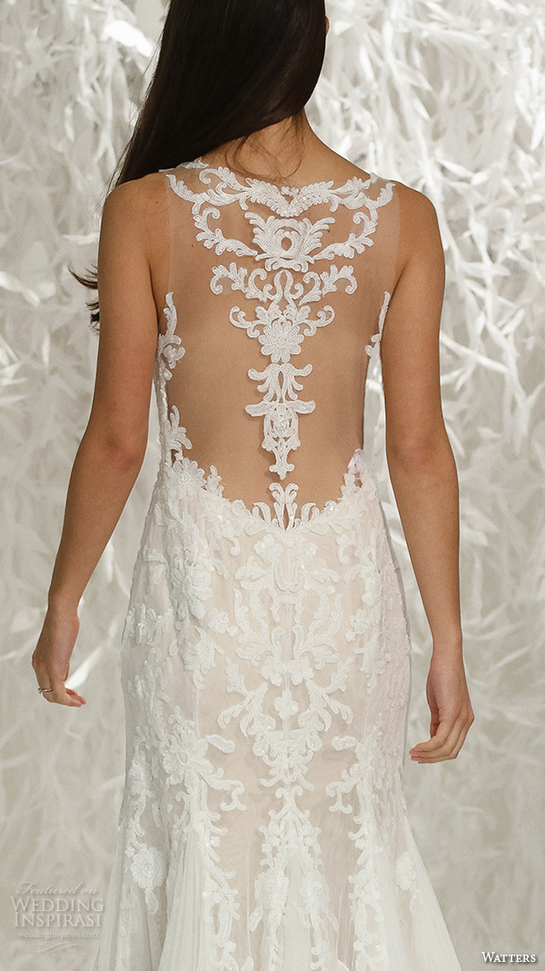 watters brides spring 2016 bridal illusion neckline v neck lace embroidered fit to flare beautiful sheath wedding dress style kimura back