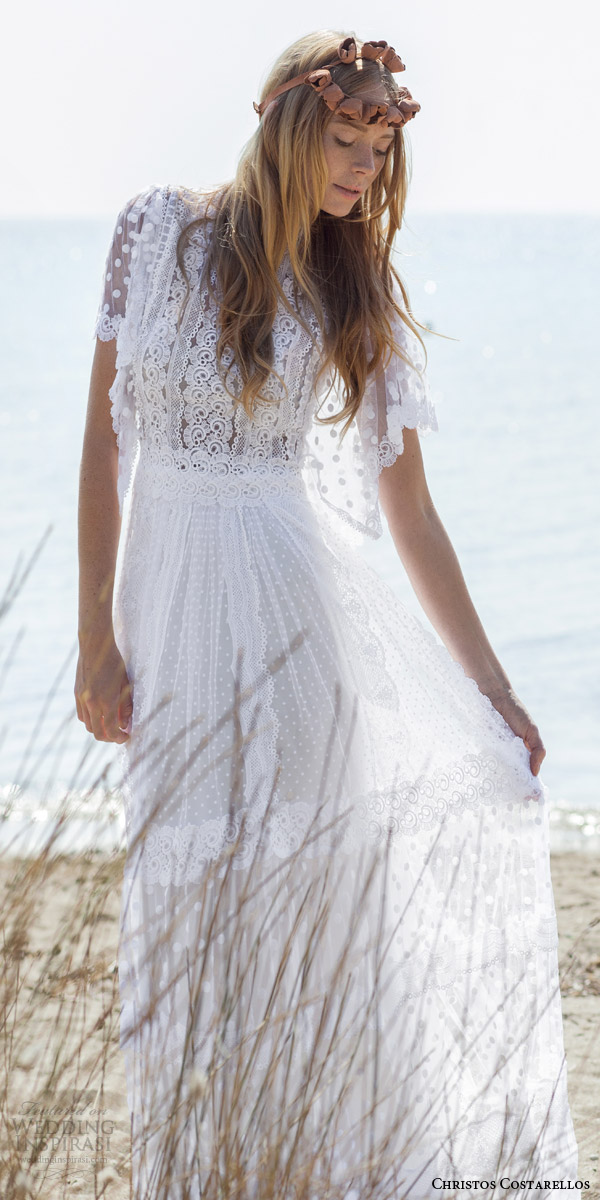 christos costarellos bridal spring 2016 romantic bohemian lace wedding dress flutter sleeves guipure dotted net