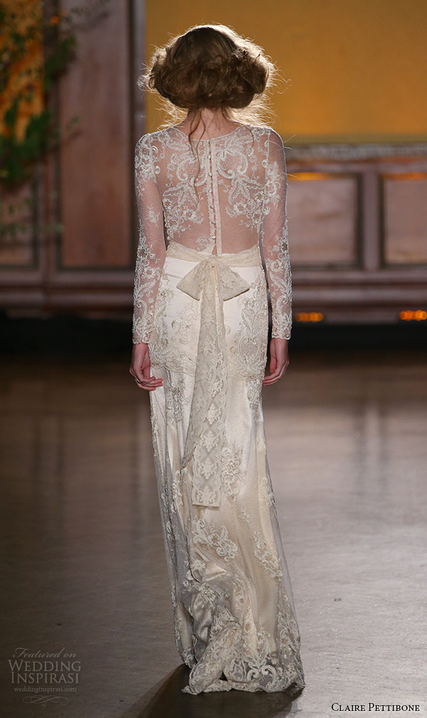 claire pettibone fall 2016 bridal new york runway sheer long sleeves lace embroidered overlay sheath rose gold wedding dress pearl back full