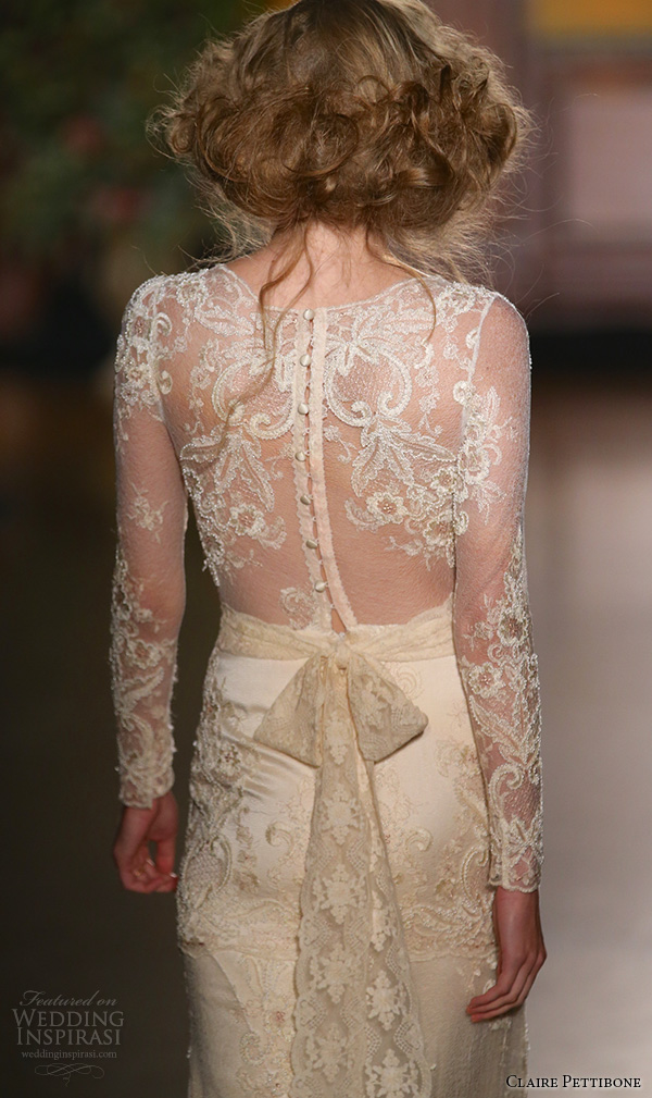 claire pettibone fall 2016 bridal new york runway sheer long sleeves lace embroidered overlay sheath rose gold wedding dress pearle back
