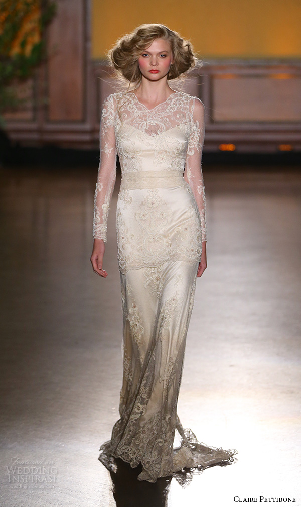 claire pettibone fall 2016 bridal new york runway sheer long sleeves lace embroidered overlay sheath rose gold wedding dress pearle