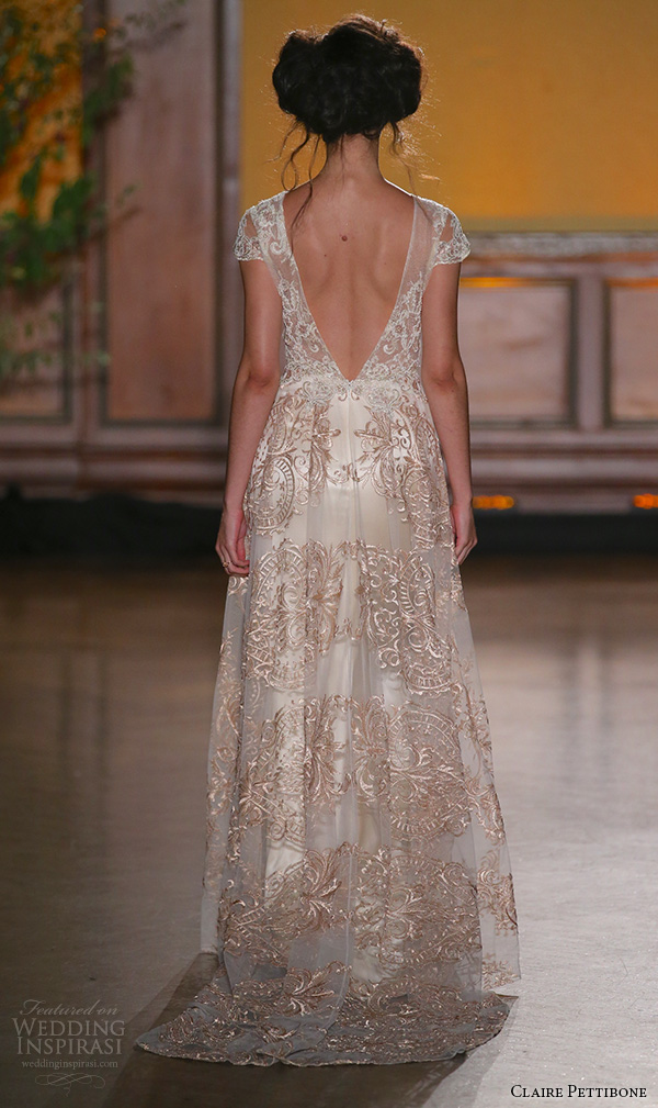 claire pettibone fall 2016 bridal new york runway v neckline cap sleeves bronze color embroidery overlay flowy dress over sheath gown la belle back