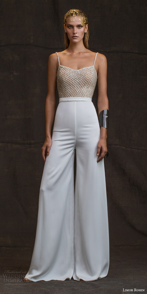 limor rosen wedding dresses 2016 treasure bridal collection louisa pant suit sleeveless beaded straps