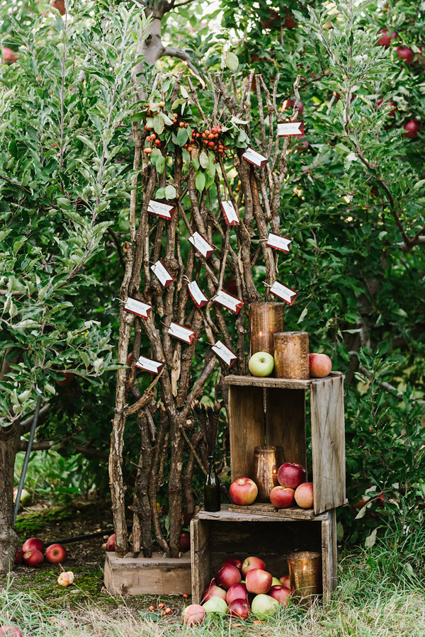 rustic seating chart - photo by Annmarie Swift Photography http://ruffledblog.com/autumn-orchard-romance-inspiration-shoot