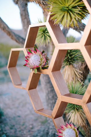 Honeycomb wedding ceremony backdrop | M. Felt Photography | see more on: http://burnettsboards.com/2015/11/mid-century-modern-southwestern-wedding/